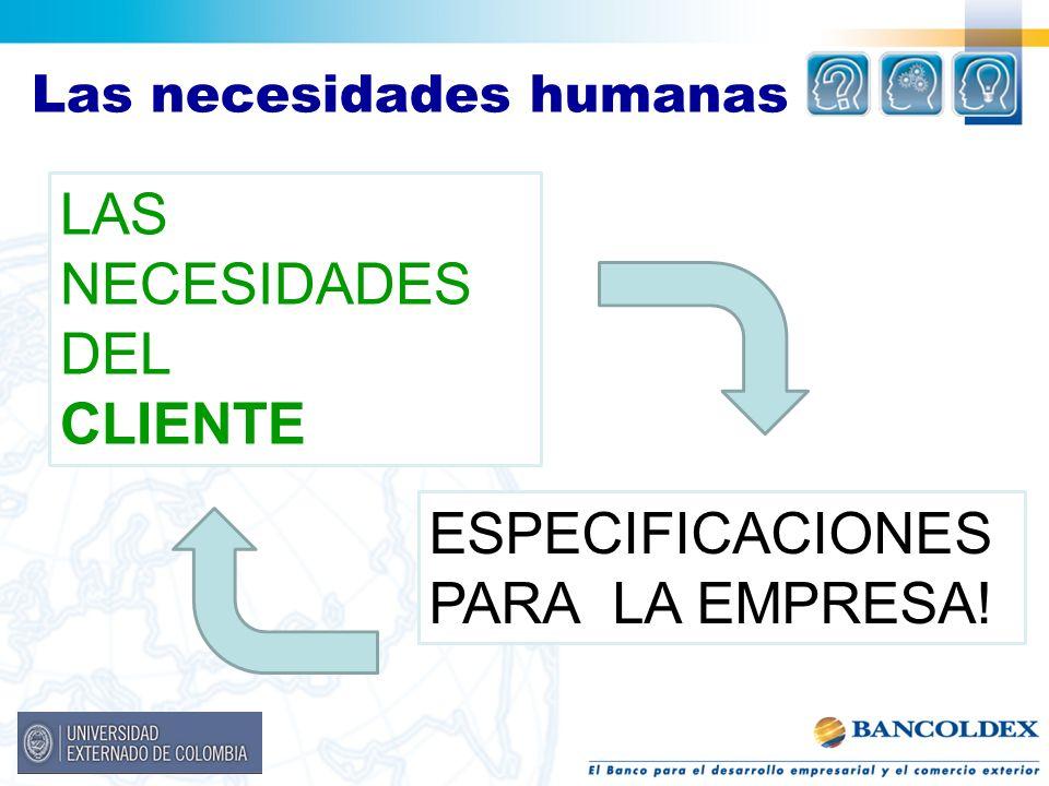 Las necesidades humanas LAS NECESIDADES DEL CLIENTE ESPECIFICACIONES PARA LA EMPRESA!