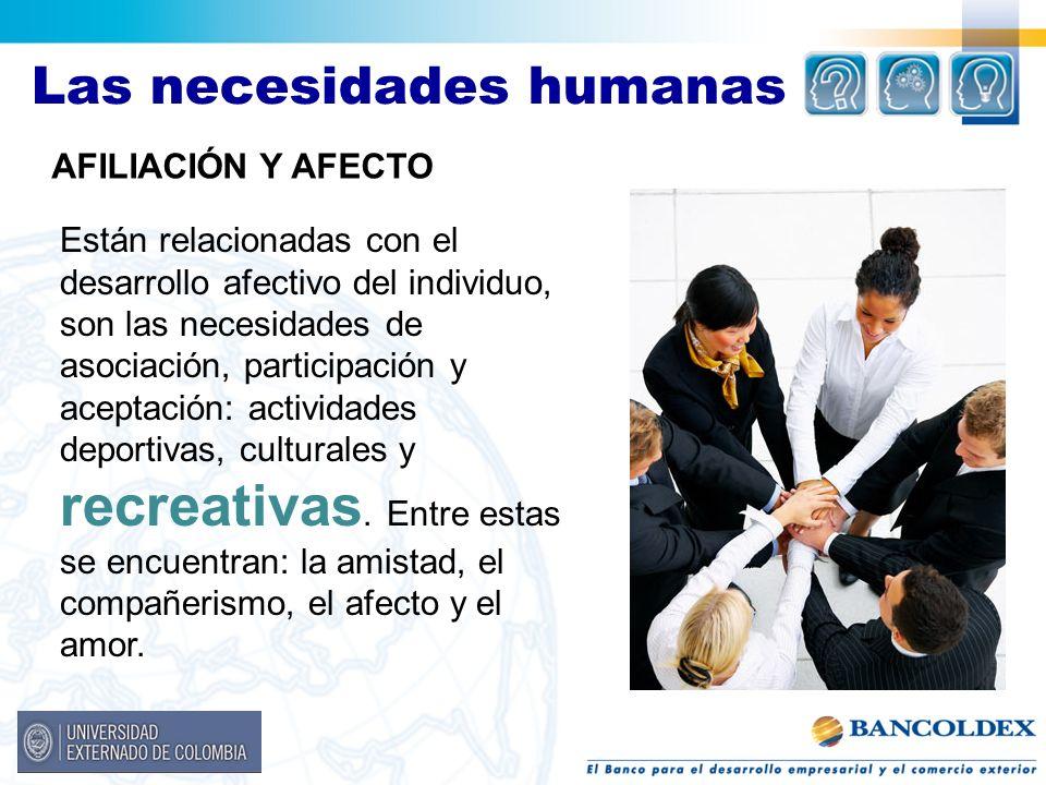 Las necesidades humanas AFILIACIÓN Y AFECTO Están relacionadas con el desarrollo afectivo del individuo, son las necesidades de asociación, participac