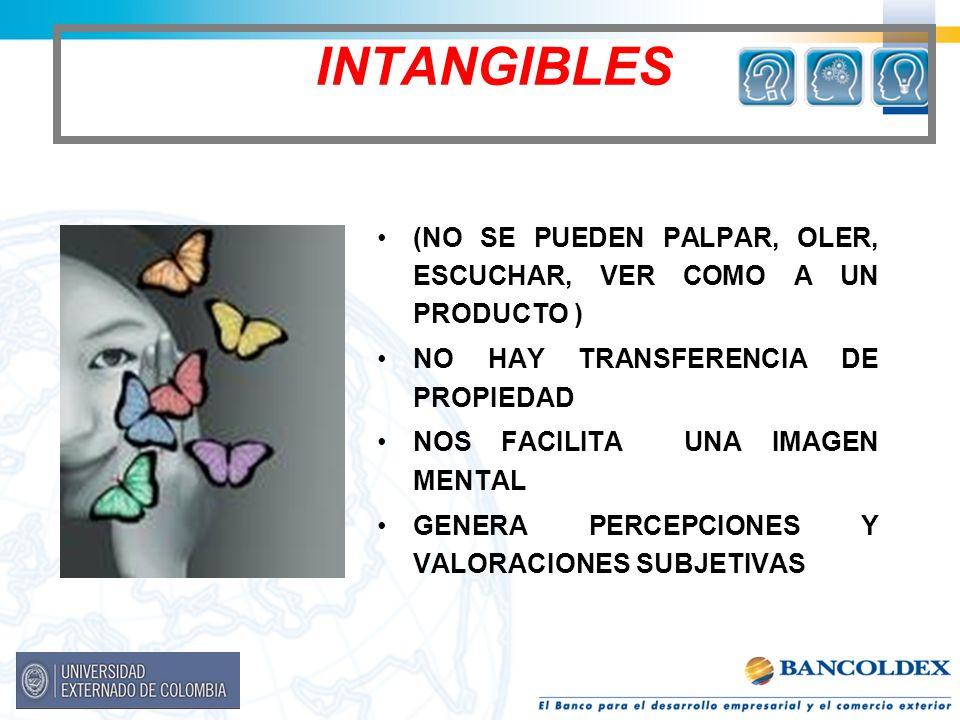 INTANGIBLES (NO SE PUEDEN PALPAR, OLER, ESCUCHAR, VER COMO A UN PRODUCTO ) NO HAY TRANSFERENCIA DE PROPIEDAD NOS FACILITA UNA IMAGEN MENTAL GENERA PER