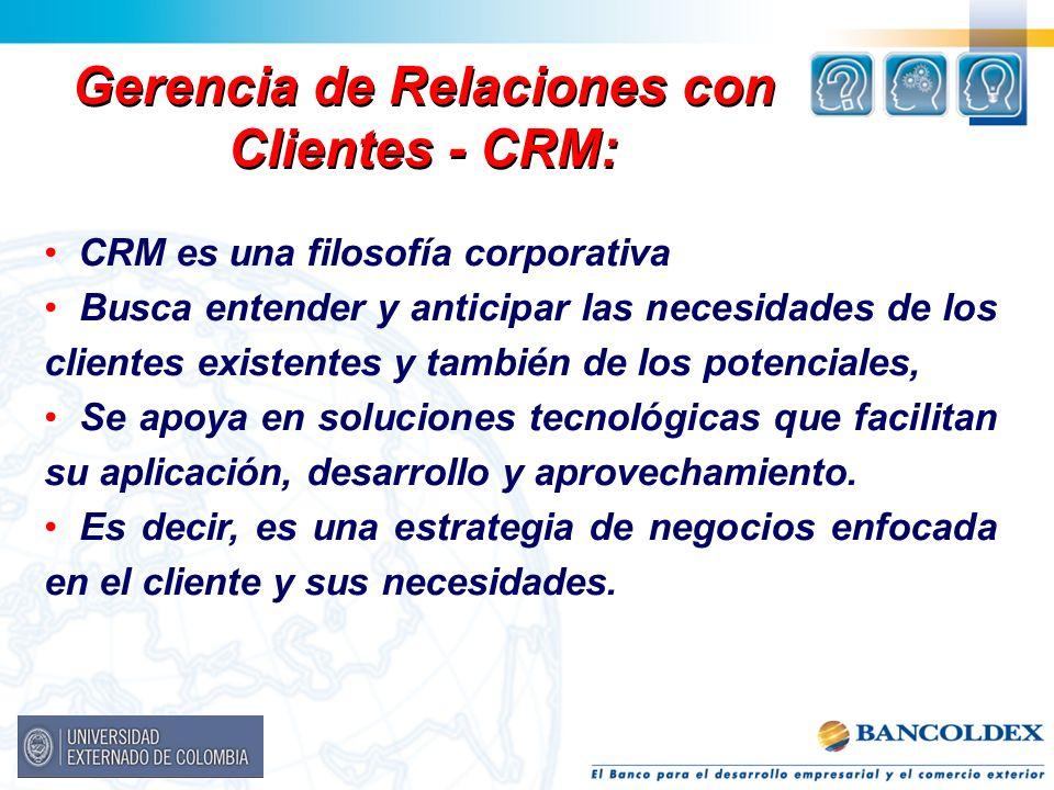 Gerencia de Relaciones con Clientes - CRM: CRM es una filosofía corporativa Busca entender y anticipar las necesidades de los clientes existentes y ta