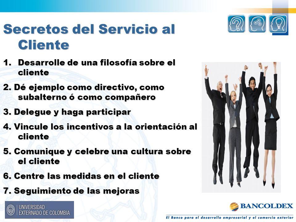Secretos del Servicio al Cliente 1.Desarrolle de una filosofía sobre el cliente 2. Dé ejemplo como directivo, como subalterno ó como compañero 3. Dele