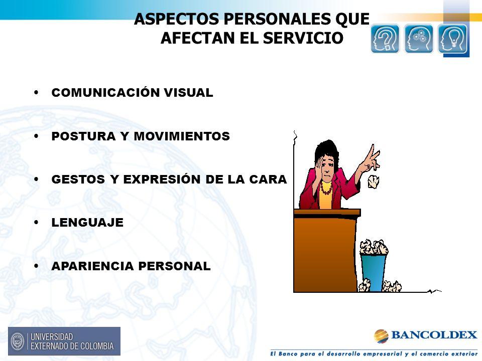 ASPECTOS PERSONALES QUE AFECTAN EL SERVICIO COMUNICACIÓN VISUAL POSTURA Y MOVIMIENTOS GESTOS Y EXPRESIÓN DE LA CARA LENGUAJE APARIENCIA PERSONAL