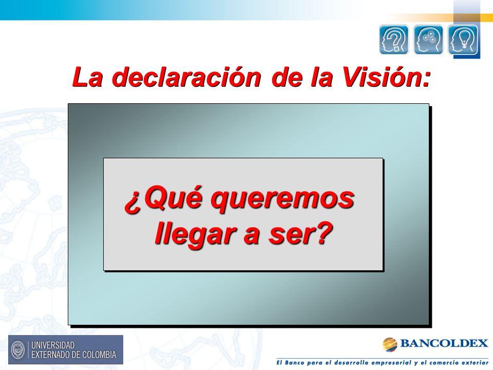 La declaración de la Visión: ¿Qué queremos llegar a ser? ¿Qué queremos llegar a ser?