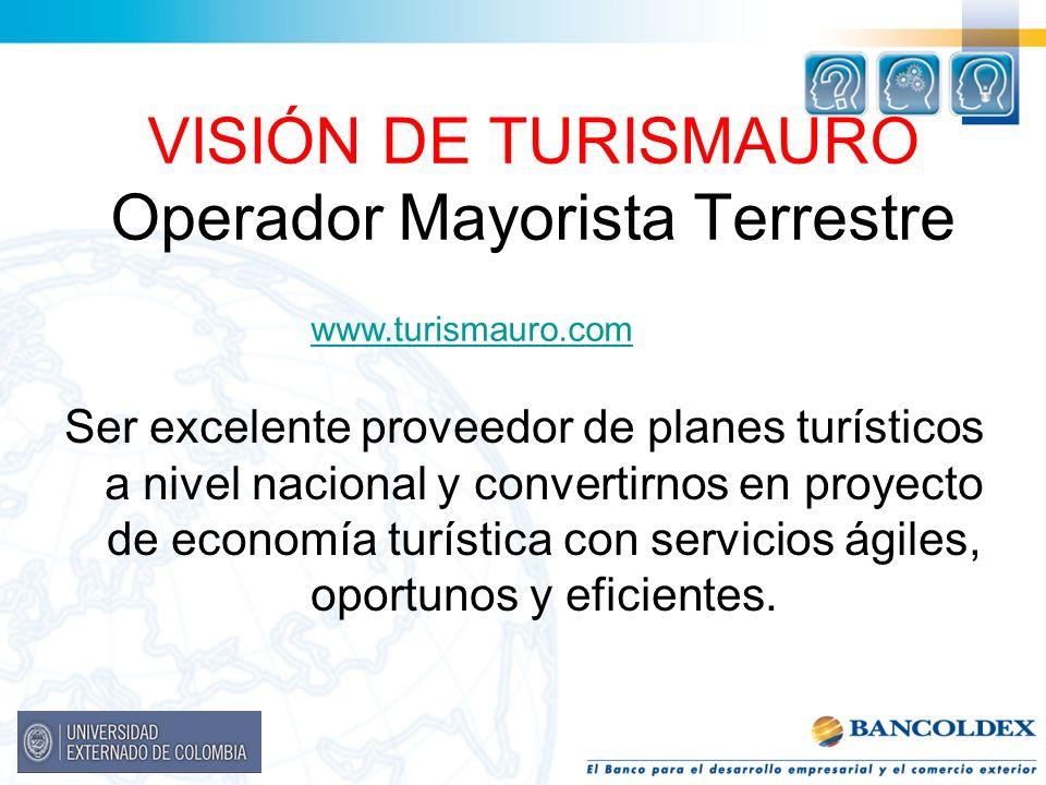 VISIÓN DE TURISMAURO Operador Mayorista Terrestre Ser excelente proveedor de planes turísticos a nivel nacional y convertirnos en proyecto de economía