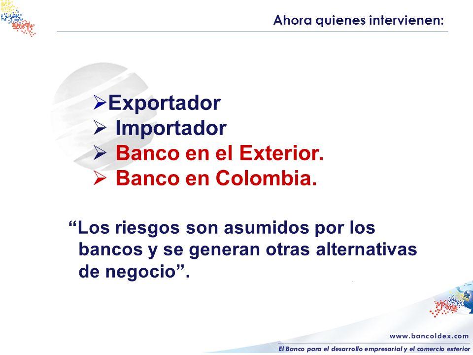 Exportador Importador Banco en el Exterior. Banco en Colombia. Los riesgos son asumidos por los bancos y se generan otras alternativas de negocio. Aho