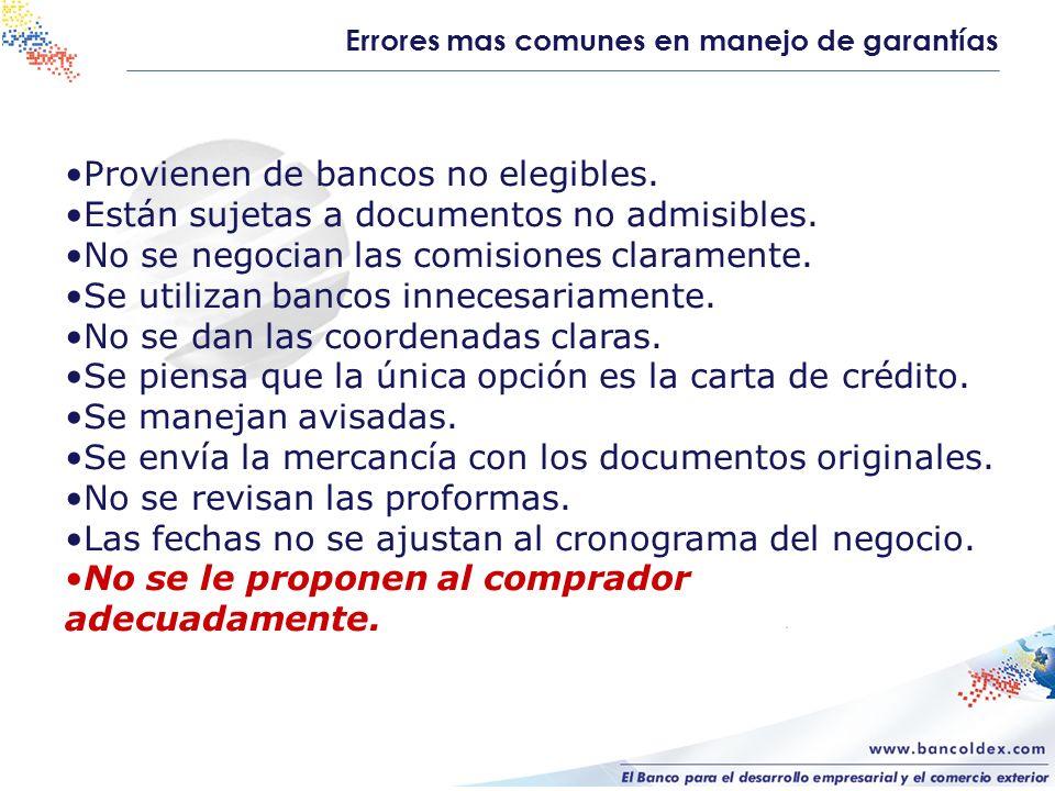 Errores mas comunes en manejo de garantías Provienen de bancos no elegibles. Están sujetas a documentos no admisibles. No se negocian las comisiones c