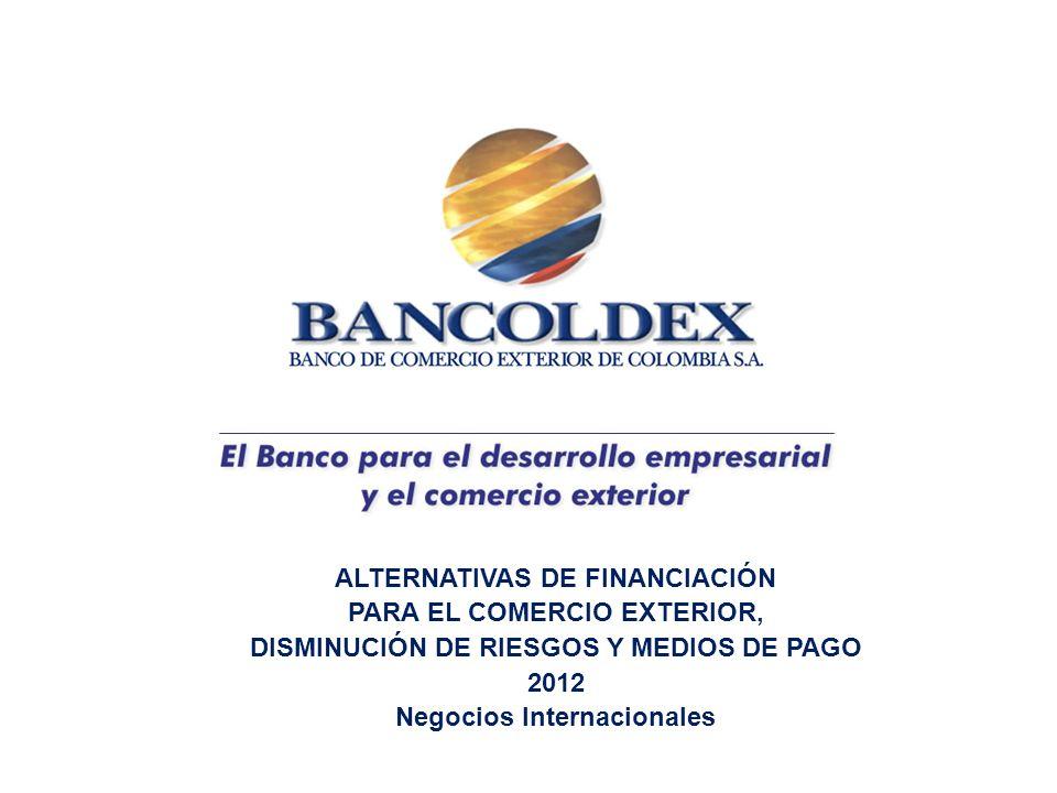 ALTERNATIVAS DE FINANCIACIÓN PARA EL COMERCIO EXTERIOR, DISMINUCIÓN DE RIESGOS Y MEDIOS DE PAGO 2012 Negocios Internacionales