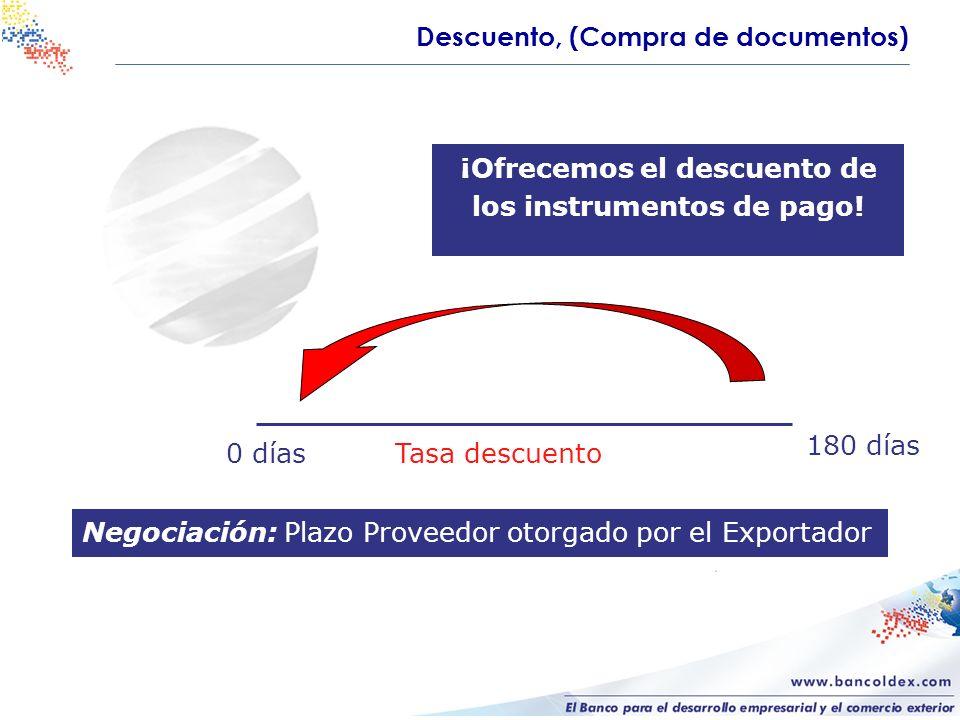 Negociación: Plazo Proveedor otorgado por el Exportador 180 días Tasa descuento ¡Ofrecemos el descuento de los instrumentos de pago! Descuento, (Compr