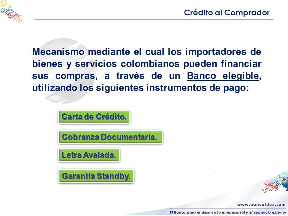 Mecanismo mediante el cual los importadores de bienes y servicios colombianos pueden financiar sus compras, a través de un Banco elegible, utilizando