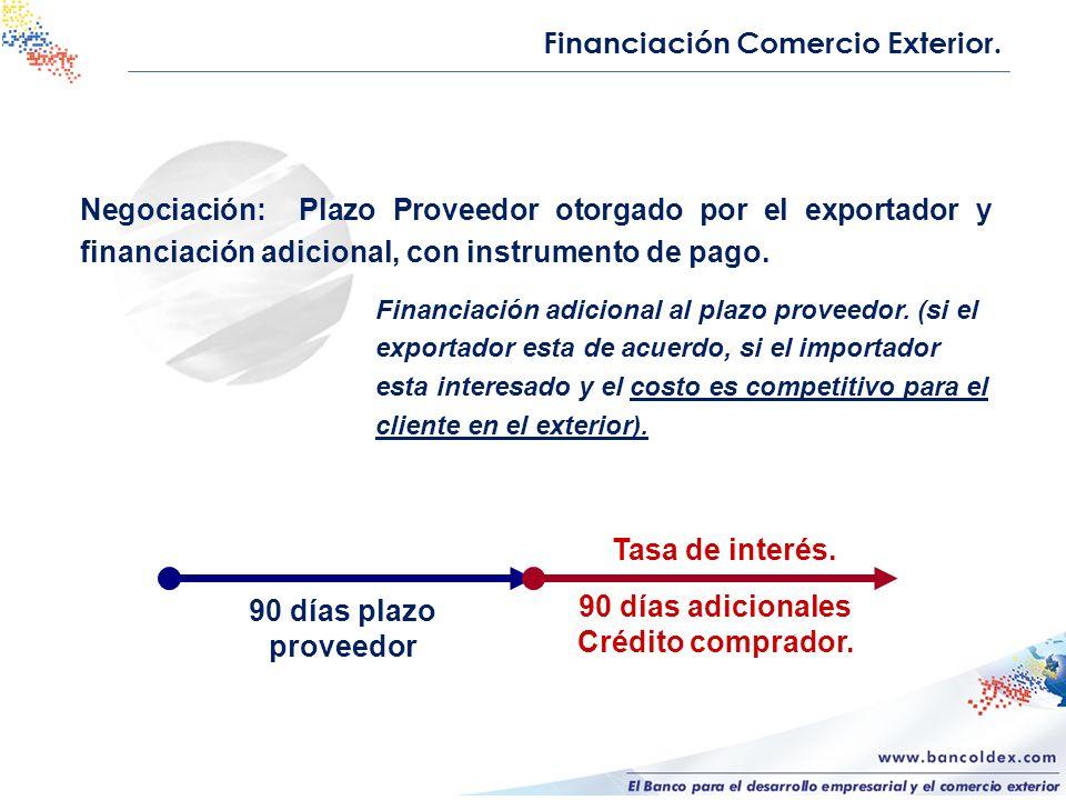 Negociación: Plazo Proveedor otorgado por el exportador y financiación adicional, con instrumento de pago. 90 días plazo proveedor 90 días adicionales