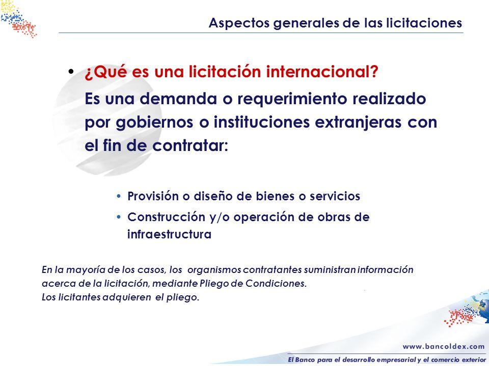¿Qué es una licitación internacional? Es una demanda o requerimiento realizado por gobiernos o instituciones extranjeras con el fin de contratar: Prov