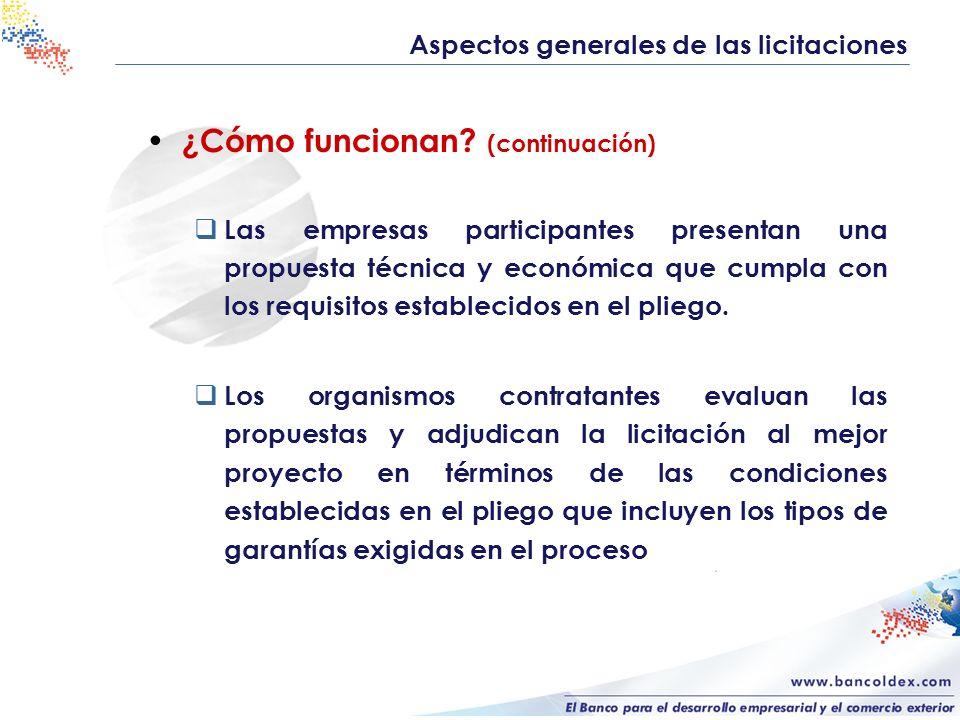 ¿Cómo funcionan? (continuación) Las empresas participantes presentan una propuesta técnica y económica que cumpla con los requisitos establecidos en e