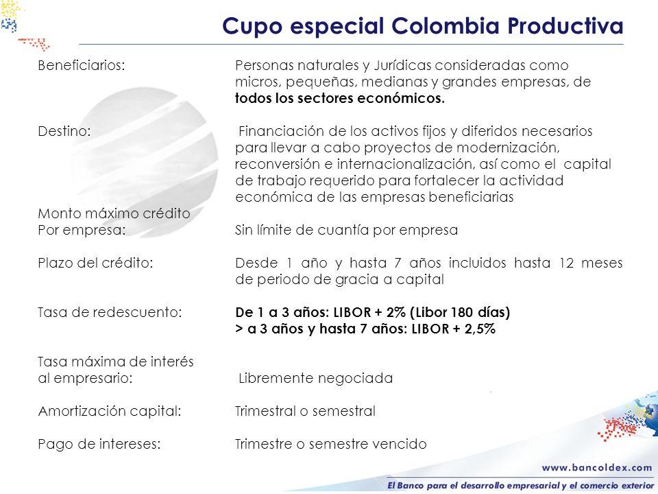 Cupo especial Colombia Productiva Beneficiarios:Personas naturales y Jurídicas consideradas como micros, pequeñas, medianas y grandes empresas, de tod