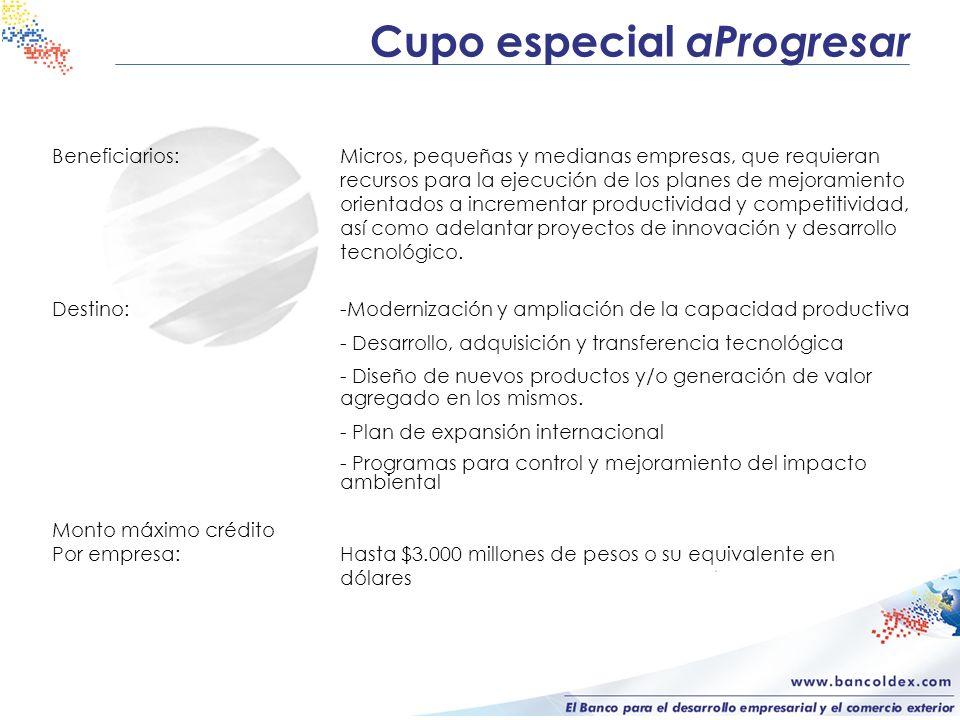 Cupo especial aProgresar Beneficiarios:Micros, pequeñas y medianas empresas, que requieran recursos para la ejecución de los planes de mejoramiento or