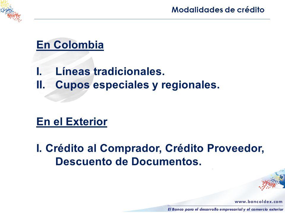 En Colombia I.Líneas tradicionales. II.Cupos especiales y regionales. Modalidades de crédito En el Exterior I. Crédito al Comprador, Crédito Proveedor