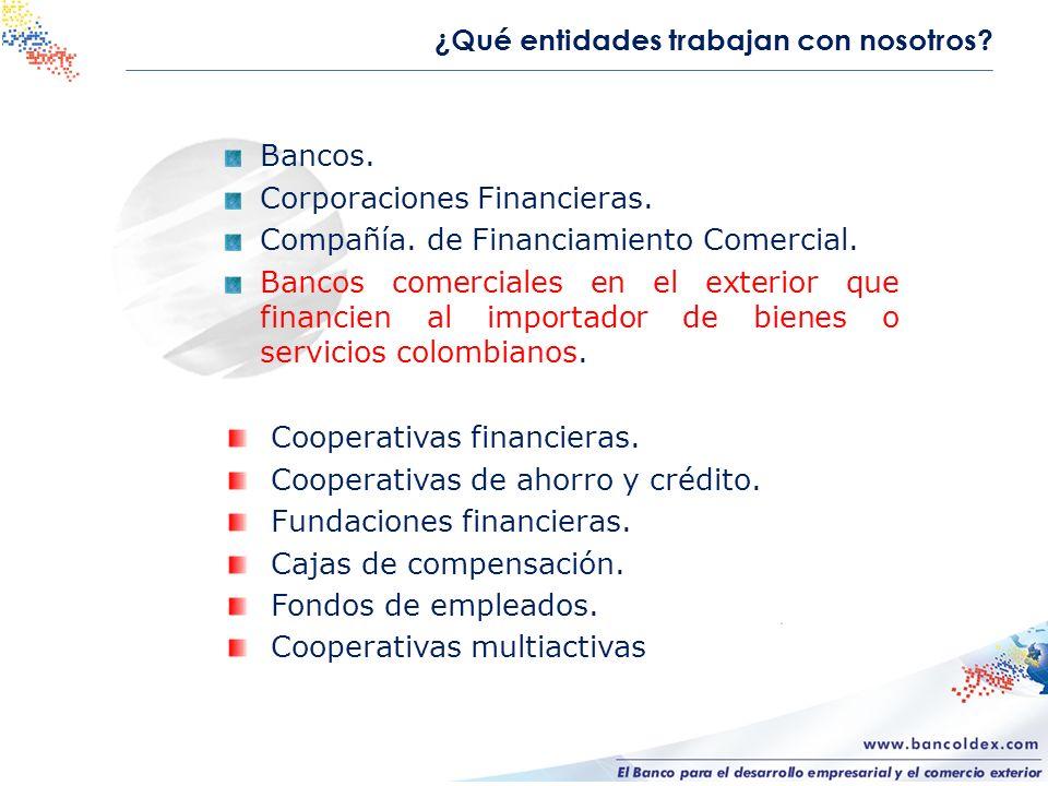 ¿Qué entidades trabajan con nosotros? Bancos. Corporaciones Financieras. Compañía. de Financiamiento Comercial. Bancos comerciales en el exterior que