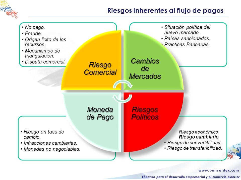 Riesgos Inherentes al flujo de pagos Riesgo económico Riesgo cambiario Riesgo de convertibilidad. Riesgo de transferibilidad. Riesgo en tasa de cambio