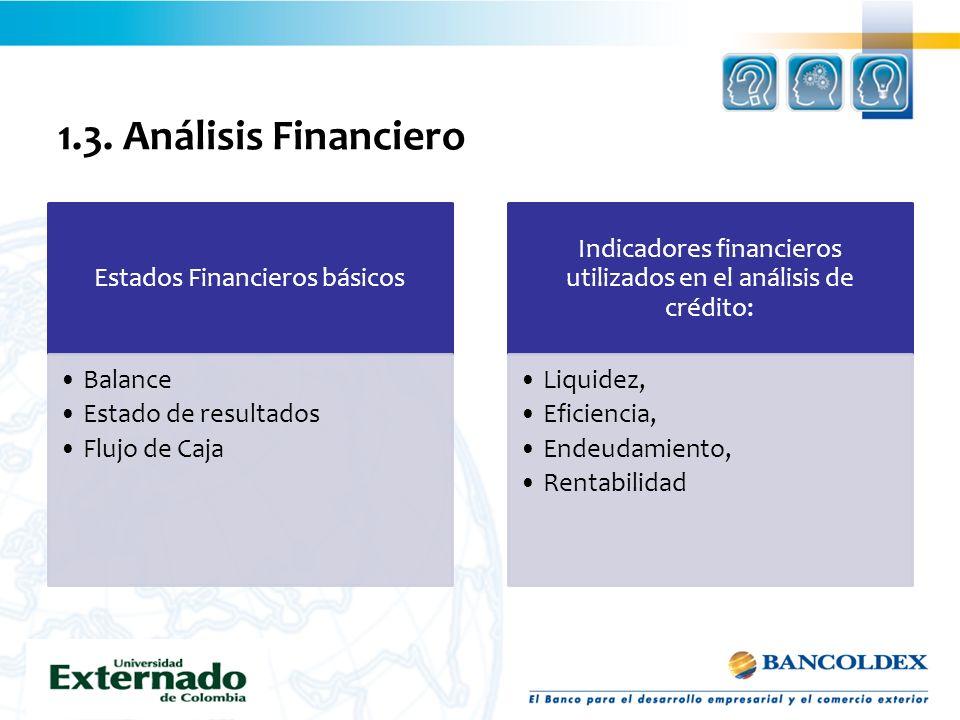 1.3. Análisis Financiero Estados Financieros básicos Balance Estado de resultados Flujo de Caja Indicadores financieros utilizados en el análisis de c