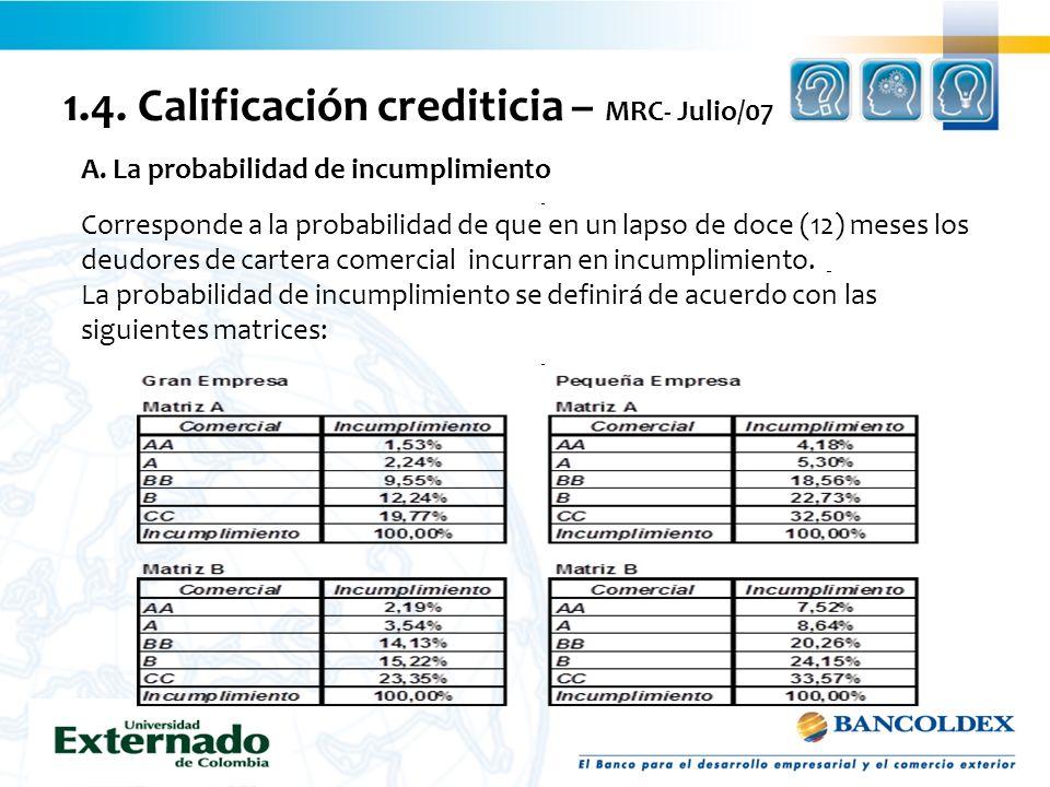 1.4. Calificación crediticia – MRC- Julio/07 A. La probabilidad de incumplimiento Corresponde a la probabilidad de que en un lapso de doce (12) meses