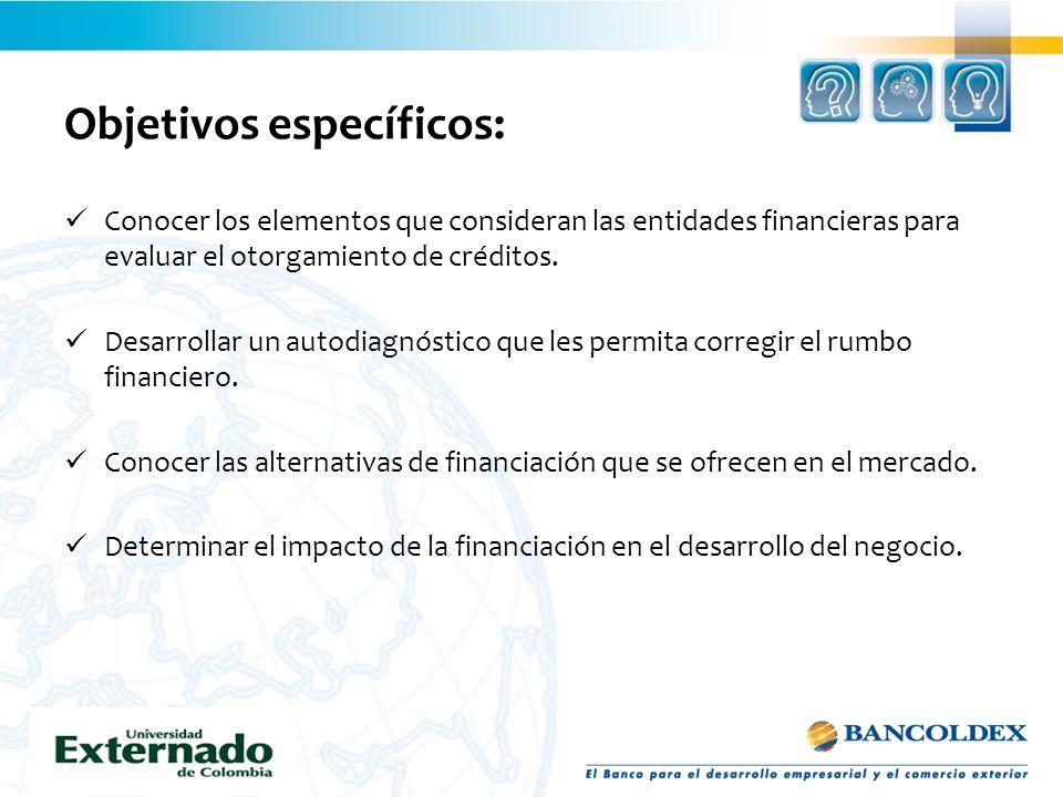 Objetivos específicos: Conocer los elementos que consideran las entidades financieras para evaluar el otorgamiento de créditos. Desarrollar un autodia