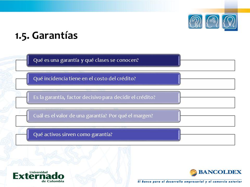 1.5. Garantías Qué es una garantía y qué clases se conocen?Qué incidencia tiene en el costo del crédito?Es la garantía, factor decisivo para decidir e
