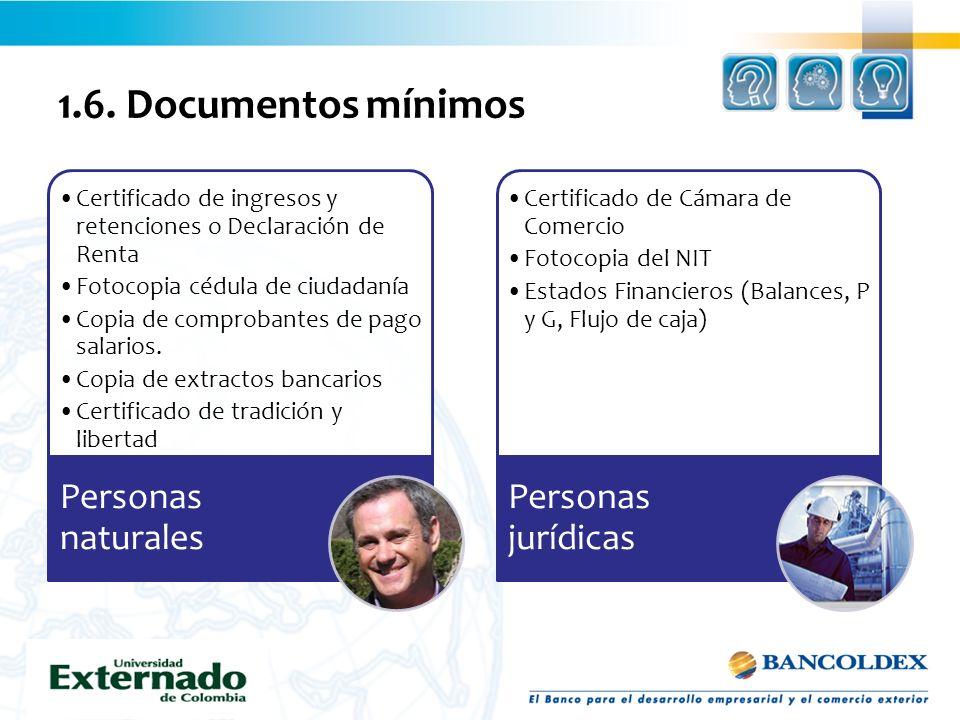 1.6. Documentos mínimos Certificado de ingresos y retenciones o Declaración de Renta Fotocopia cédula de ciudadanía Copia de comprobantes de pago sala