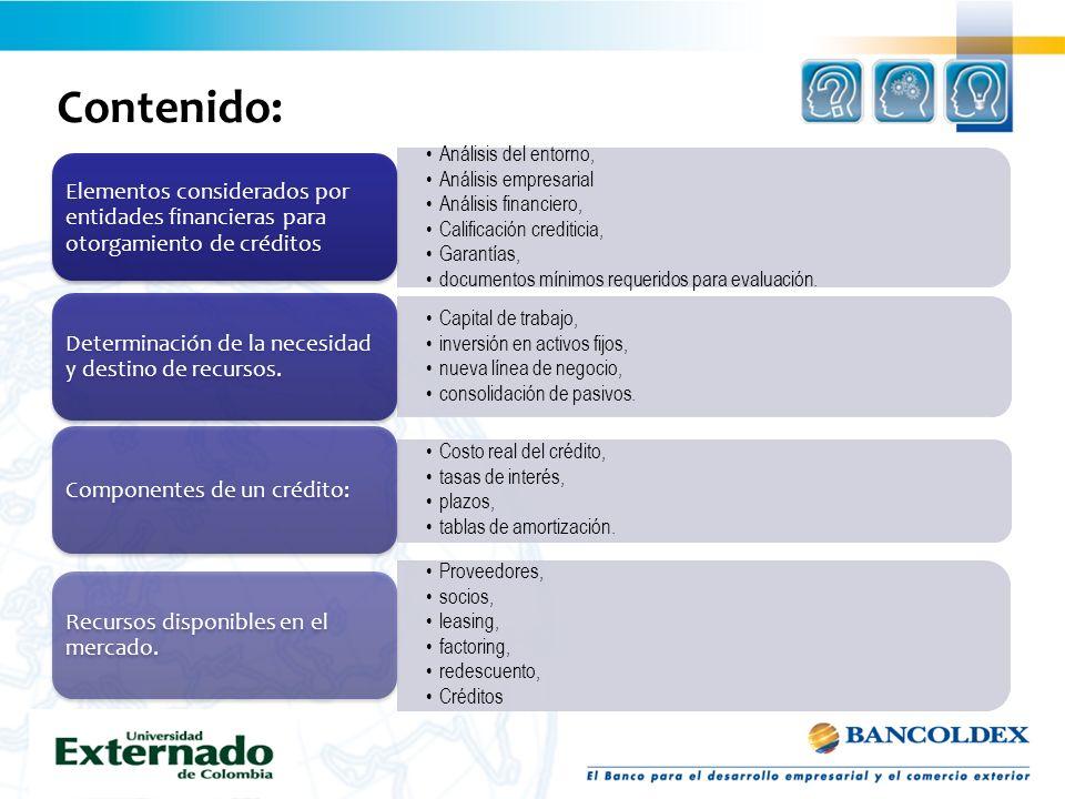 Contenido: Análisis del entorno, Análisis empresarial Análisis financiero, Calificación crediticia, Garantías, documentos mínimos requeridos para eval