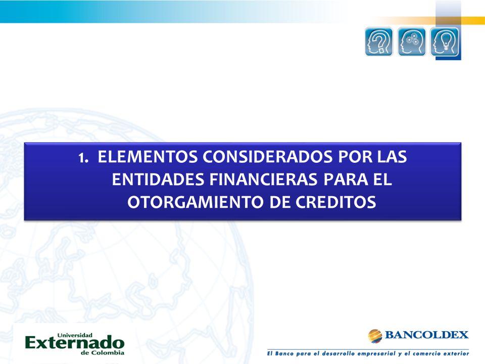 Elementos considerados por las entidades financieras para otorgamiento de créditos 1.