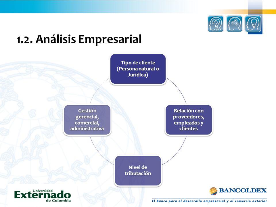 1.2. Análisis Empresarial Tipo de cliente (Persona natural o Jurídica) Relación con proveedores, empleados y clientes Nivel de tributación Gestión ger