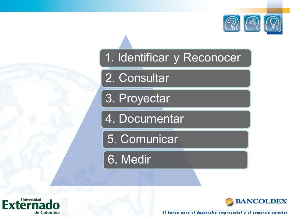 1. Identificar y Reconocer2. Consultar3. Proyectar4. Documentar5. Comunicar6. Medir