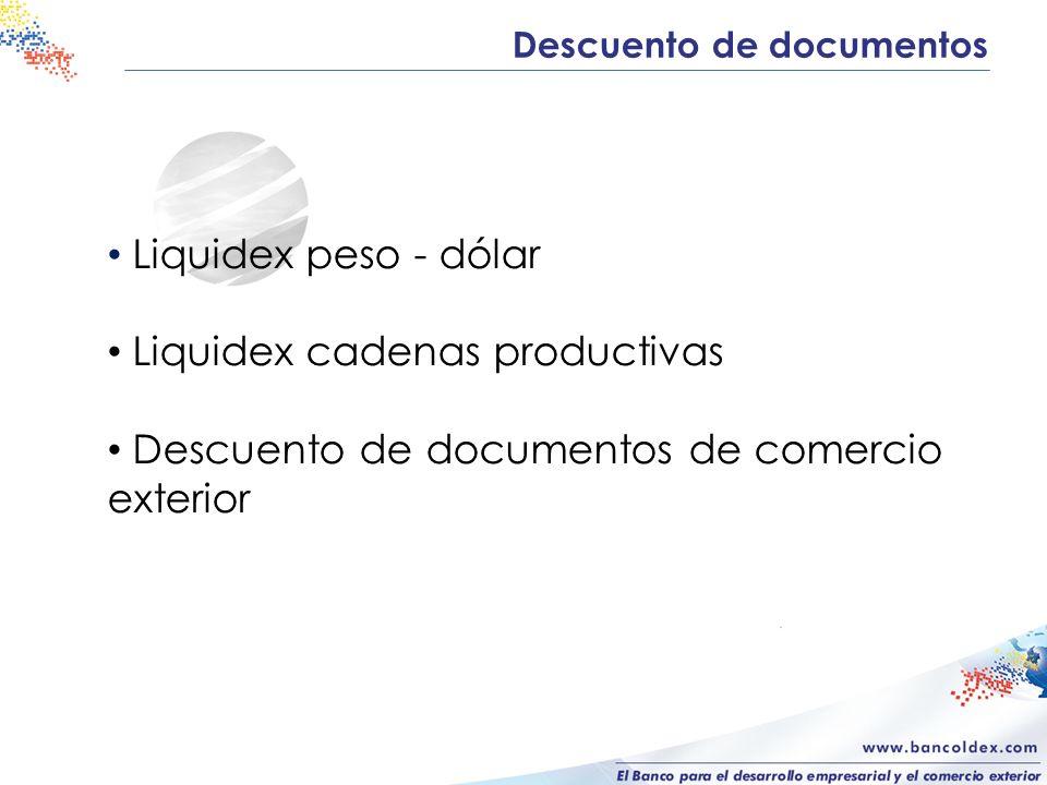 Descuento de documentos Liquidex peso - dólar Liquidex cadenas productivas Descuento de documentos de comercio exterior