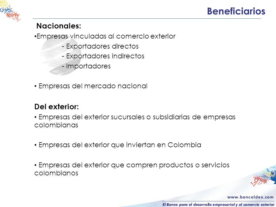 Beneficiarios Nacionales: Empresas vinculadas al comercio exterior - Exportadores directos - Exportadores indirectos - Importadores Empresas del mercado nacional Del exterior: Empresas del exterior sucursales o subsidiarias de empresas colombianas Empresas del exterior que inviertan en Colombia Empresas del exterior que compren productos o servicios colombianos