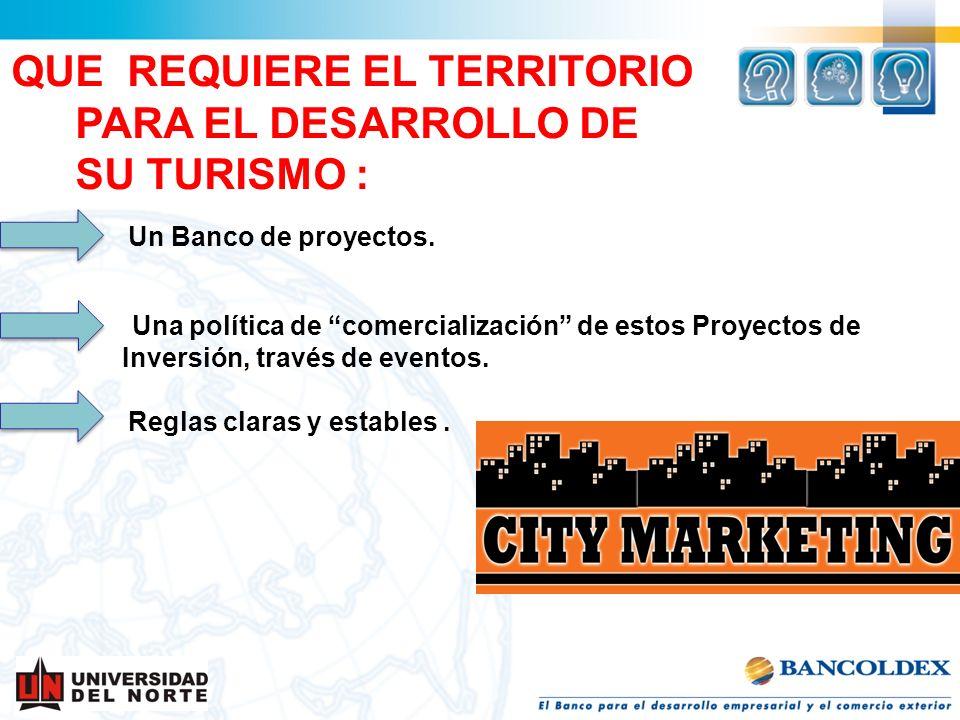 QUE REQUIERE EL TERRITORIO PARA EL DESARROLLO DE SU TURISMO : Un Banco de proyectos. Una política de comercialización de estos Proyectos de Inversión,