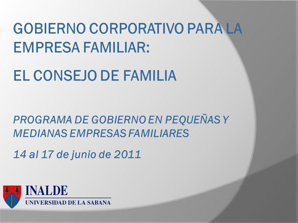 GOBIERNO CORPORATIVO PARA LA EMPRESA FAMILIAR: EL CONSEJO DE FAMILIA PROGRAMA DE GOBIERNO EN PEQUEÑAS Y MEDIANAS EMPRESAS FAMILIARES 14 al 17 de junio