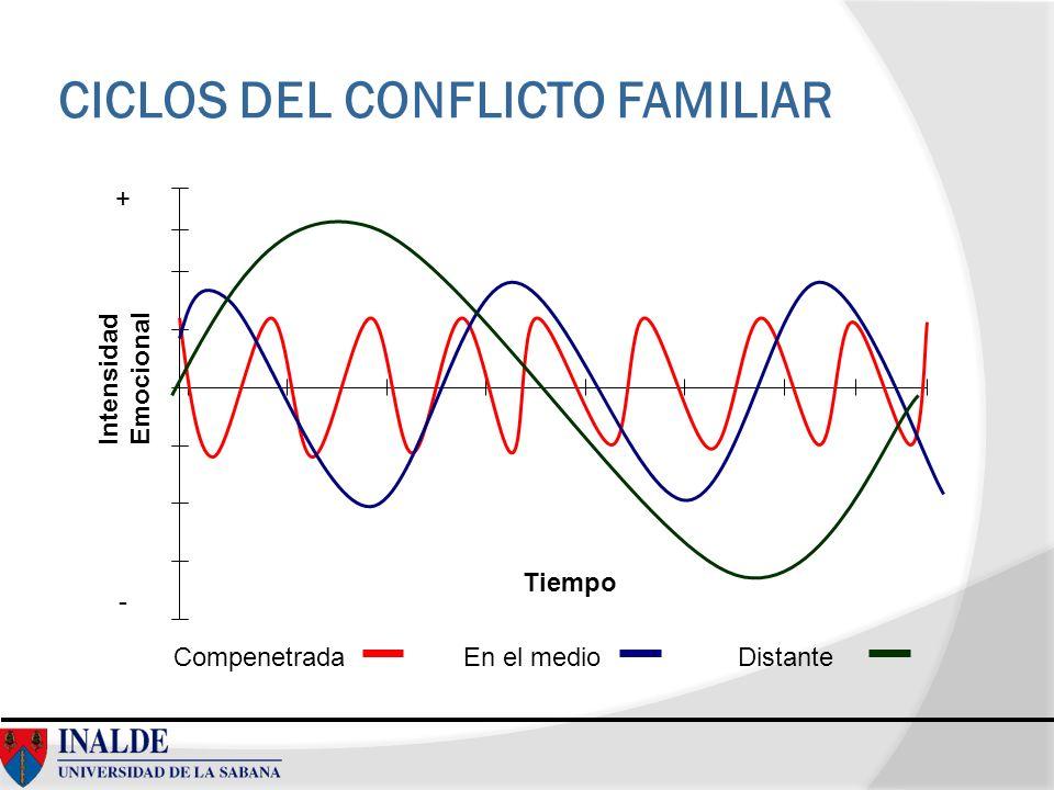 CICLOS DEL CONFLICTO FAMILIAR CompenetradaEn el medioDistante Intensidad Emocional Tiempo + -