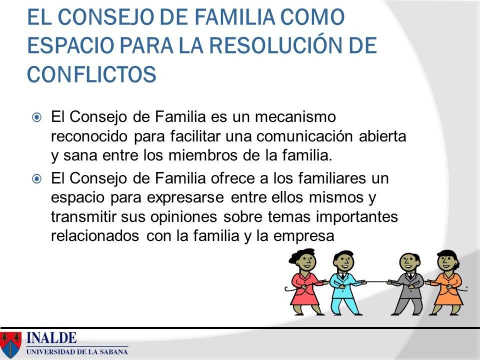 EL CONSEJO DE FAMILIA COMO ESPACIO PARA LA RESOLUCIÓN DE CONFLICTOS El Consejo de Familia es un mecanismo reconocido para facilitar una comunicación a