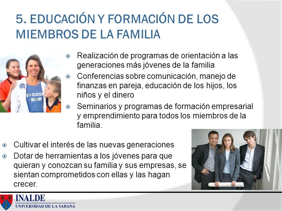5. EDUCACIÓN Y FORMACIÓN DE LOS MIEMBROS DE LA FAMILIA Realización de programas de orientación a las generaciones más jóvenes de la familia Conferenci
