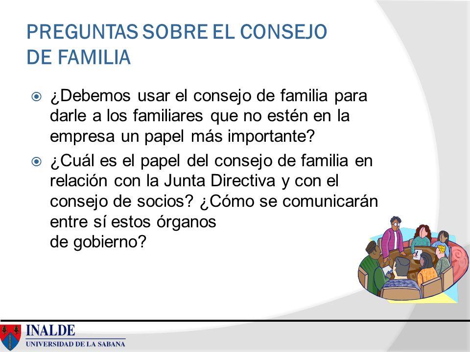 PREGUNTAS SOBRE EL CONSEJO DE FAMILIA ¿Debemos usar el consejo de familia para darle a los familiares que no estén en la empresa un papel más importan