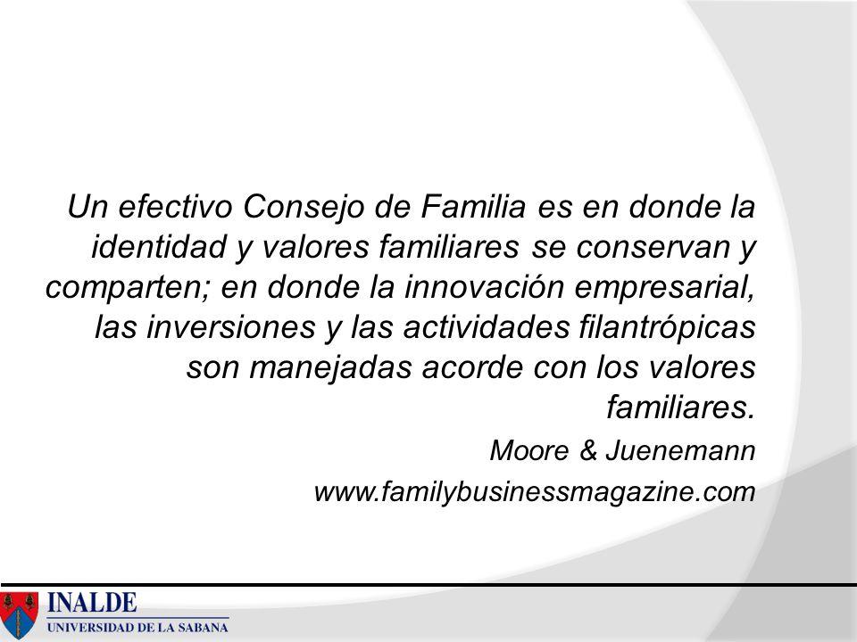 Un efectivo Consejo de Familia es en donde la identidad y valores familiares se conservan y comparten; en donde la innovación empresarial, las inversi