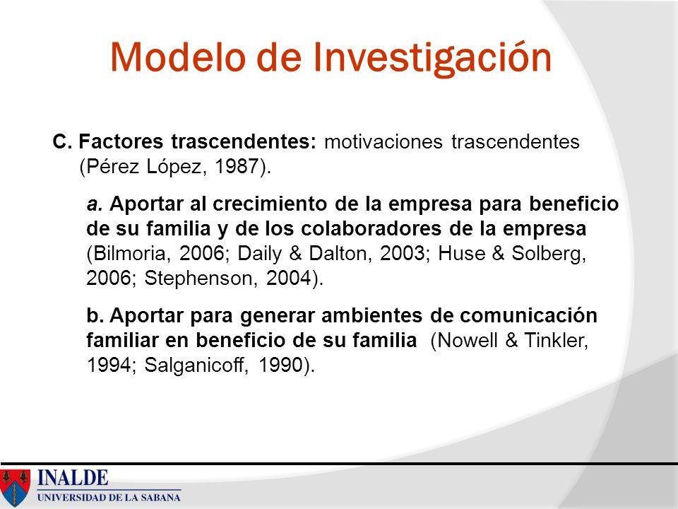 Modelo de Investigación C. Factores trascendentes: motivaciones trascendentes (Pérez López, 1987). a. Aportar al crecimiento de la empresa para benefi