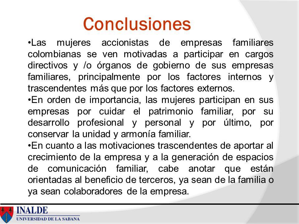 Conclusiones Las mujeres accionistas de empresas familiares colombianas se ven motivadas a participar en cargos directivos y /o órganos de gobierno de