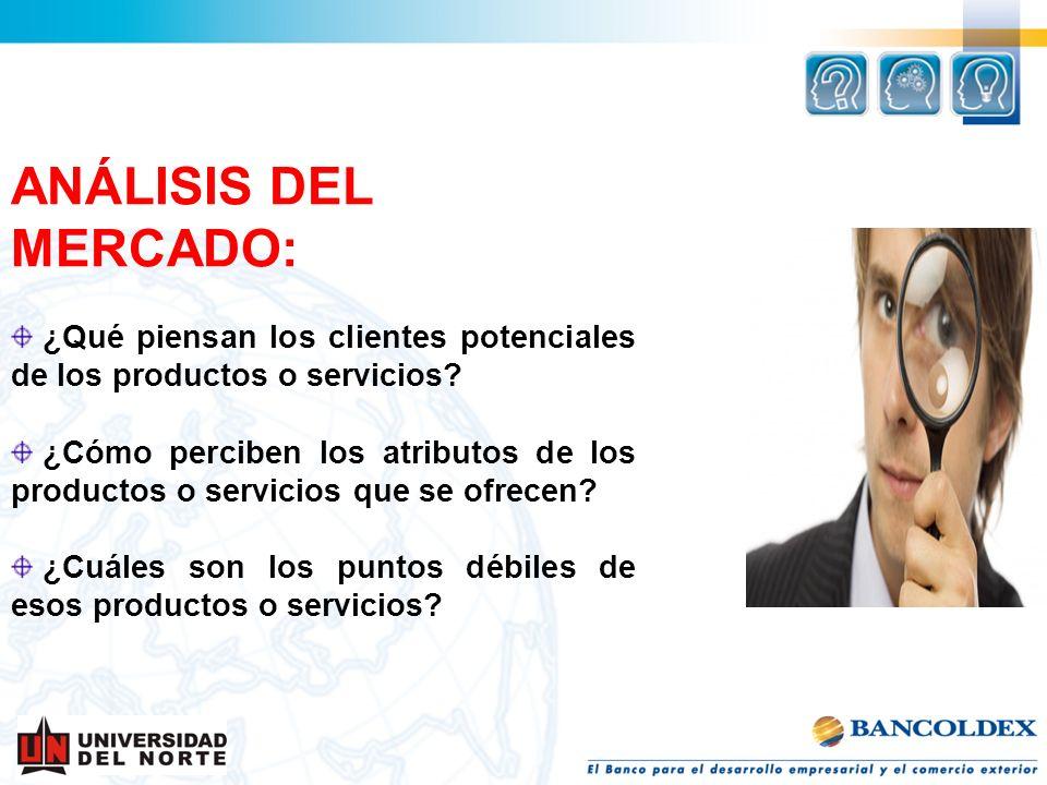 ANÁLISIS DEL MERCADO: ¿Qué piensan los clientes potenciales de los productos o servicios? ¿Cómo perciben los atributos de los productos o servicios qu