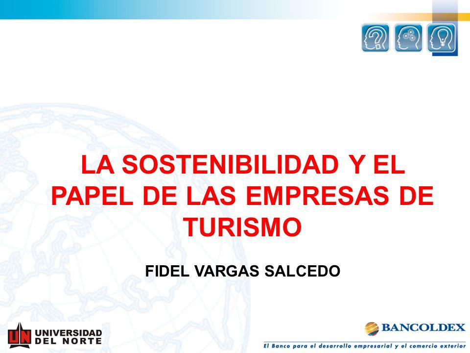 LA SOSTENIBILIDAD Y EL PAPEL DE LAS EMPRESAS DE TURISMO FIDEL VARGAS SALCEDO