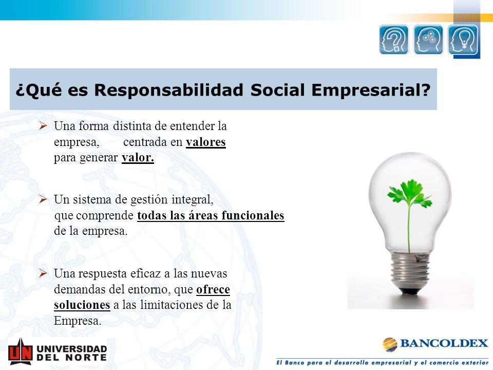 ¿Qué es Responsabilidad Social Empresarial? Una forma distinta de entender la empresa, centrada en valores para generar valor. Un sistema de gestión i
