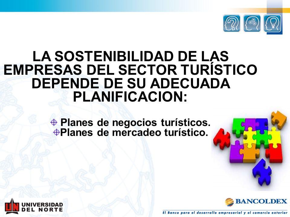 LA SOSTENIBILIDAD DE LAS EMPRESAS DEL SECTOR TURÍSTICO DEPENDE DE SU ADECUADA PLANIFICACION: Planes de negocios turísticos. Planes de mercadeo turísti