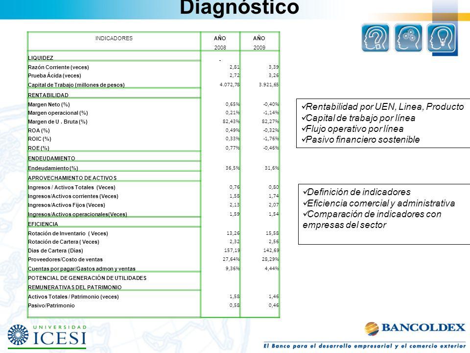 Diagnóstico Rentabilidad por UEN, Linea, Producto Capital de trabajo por línea Flujo operativo por línea Pasivo financiero sostenible Definición de in