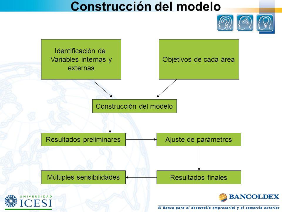 Construcción del modelo Identificación de Variables internas y externas Objetivos de cada área Construcción del modelo Resultados preliminaresAjuste d