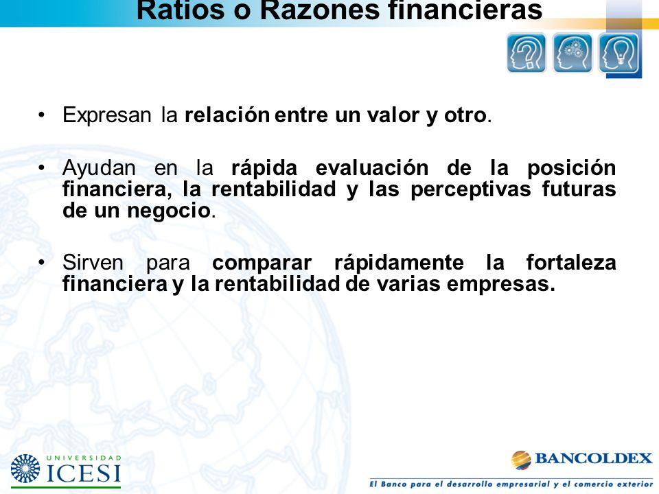 Ratios o Razones financieras Expresan la relación entre un valor y otro. Ayudan en la rápida evaluación de la posición financiera, la rentabilidad y l