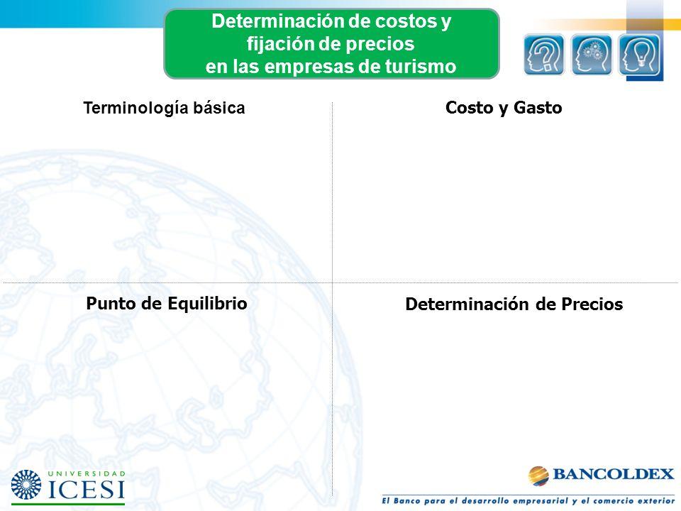 Punto de Equilibrio Determinación de Precios Determinación de costos y fijación de precios en las empresas de turismo Costo y Gasto Terminología básic