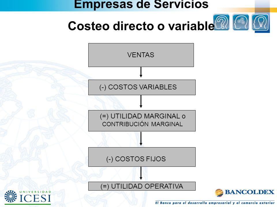 VENTAS (-) COSTOS VARIABLES (=) UTILIDAD MARGINAL o CONTRIBUCIÓN MARGINAL (-) COSTOS FIJOS (=) UTILIDAD OPERATIVA Empresas de Servicios Costeo directo